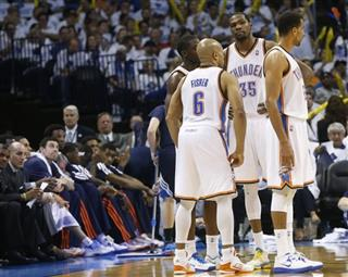 Reggie Jackson, Derek Fisher, Kevin Durant, Thabo Sefolosha, Memphis Grizzlie