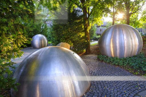 Germany, Bavaria, Upper Bavaria, Munich, stainless steel balls and spherical caps by Andr Volten in front of European Patent Office