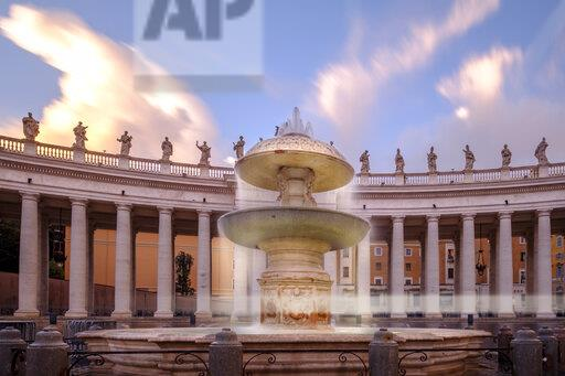 Italy, Vatican, Rome, fountain on St. Peter's Square