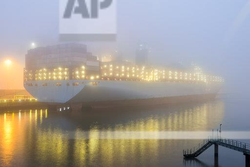 Germany, Hamburg, Harbour, Container ship in the morning