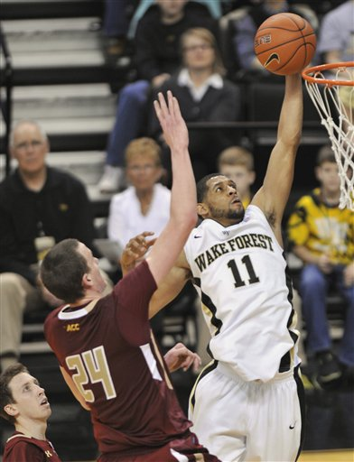 Wake Forest University Guard C.J. Harris (11) Boston College Center Dennis Clifford (24)