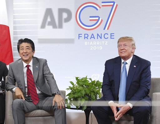 G7 summit in Biarritz, France / Trump meets Abe