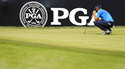 Dustin Johnson looks at his putt on the first green during the final round of the PGA Championship golf tournament at Bellerive Country Club, Sunday, Aug. 12, 2018, in St. Louis. (AP Photo/Brynn Anderson)