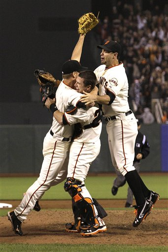 Matt Cain, Buster Posey, Brandon Belt