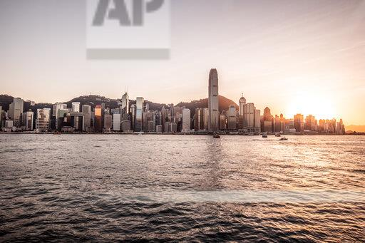 Hong Kong, Tsim Sha Tsui, cityscape at sunset