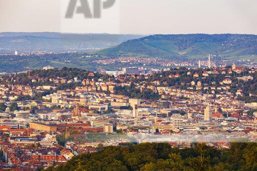 Germany, Baden-Wuerttemberg, Stuttgart, Cityscape with TV Tower in the evening, view from Birkenkopf