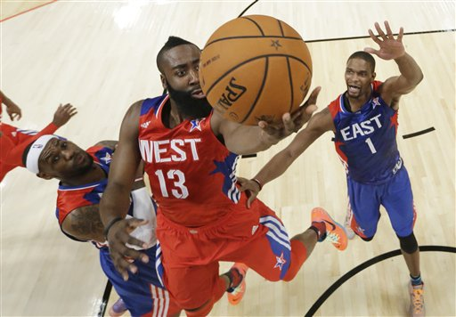 James Harden, LeBron James, Chris Bosh