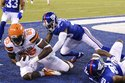 Cleveland Browns tight end David Njoku (85) catches a pass for a touchdown as New York Giants' Chris Lewis-Harris (39) defends during the first half of a preseason NFL football game Thursday, Aug. 9, 2018, in East Rutherford, N.J. (AP Photo/Bill Kostroun)