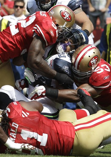 Marshawn Lynch, Patrick Willis, NaVorro Bowman, Ray McDonald