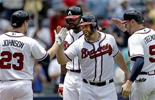 Evan Gattis, Freddie Freeman, Jason Heyward, Chris Johnson