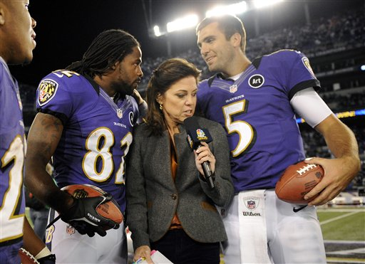 Torrey Smith, Joe Flacco, Michele Tafoya