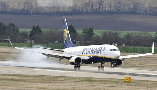 Ryanair Boeing 737 lands at the Brno Turany Airport