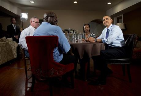 Barack Obama, Jimmy Massenburg, Velma Massenburg, Richard Santana, Tiffany Santana