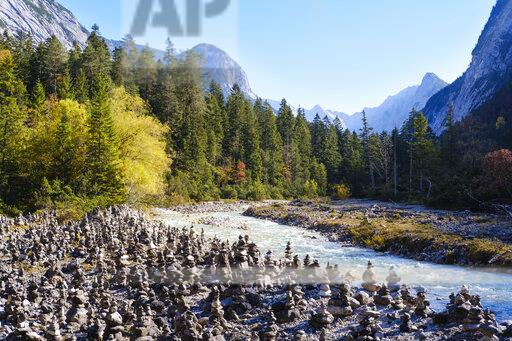 Austria, Tyrol, Karwendel mountains, Hinterautal, cairns at River Isar