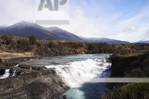 Chile, Patagonia, Landscape of river and mountains of Torres del Paine National Park
