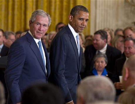 Barack Obama,  George W. Bush