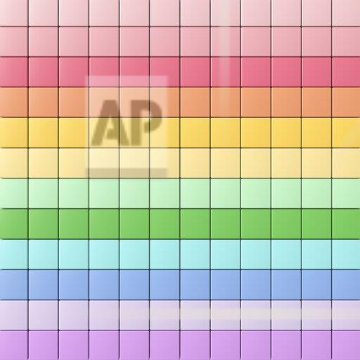 3D rendering, Rows of rainbow colored tiles