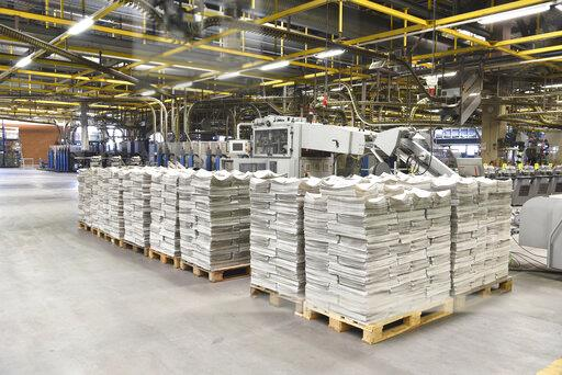 Printing shop, newspapers on pallets