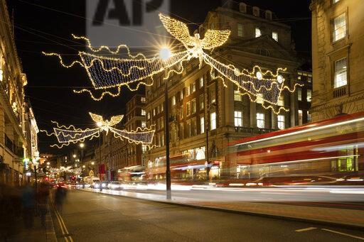 United Kingdom, England, London, Piccadilly Circus, Bus, Christmas illumination at night