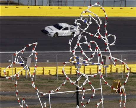 holiday light display during NASCAR Sprint Cup testing for the 2014