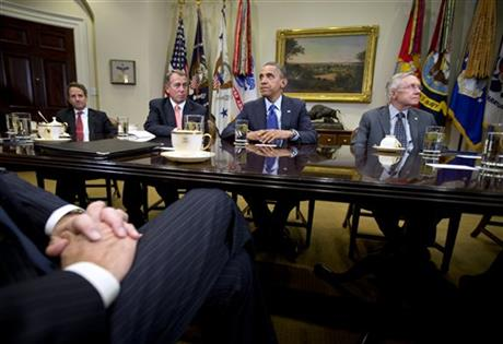 Barack Obama, Timothy Geithner, Harry Reid, John Boehner