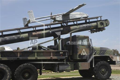Creative AP Photo/Stocktrek Images A Military California USA horizontal An RQ-2B Pioneer  UAV on an M927 logistics truck.