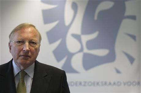 Dutch Safety Board Chairman Tjibbe Joustra poses at the board's headquarters in The Hague, after publication of its preliminary report into the crash of Malaysia Airlines Flight 17 in The Hague, Netherlands, Tuesday, Sept. 9, 2014. (AP Photo/Mike Corder)