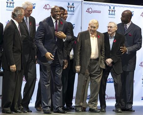 Michael Cooper, Mike Dunleavy, Jerry West, Pat Riley, Mitch Kupchak, Earvin Magic Johnson, AC Green, Gary Vitti, Mychal Thompson, Jerry Buss, James Worthy, Bill Sharman