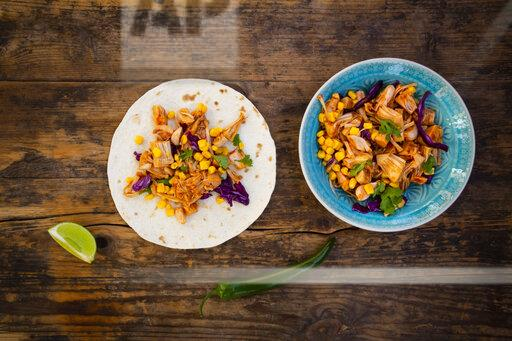 Wraps with marinated jackfruit, maize, red cabbage, coriander, lime and chili