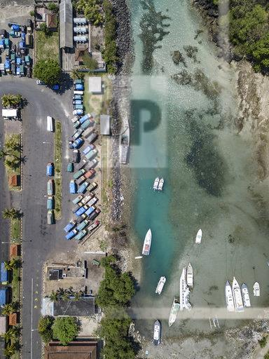 Indonesia, Bali, Aerial view of Padangbai, port from above