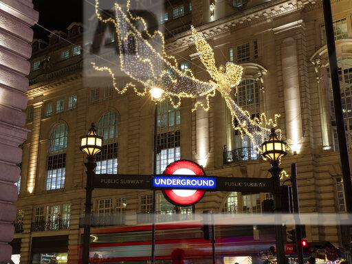 United Kingdom, England, London, Piccadilly Circus, Underground, Bus, Christmas illumination at night