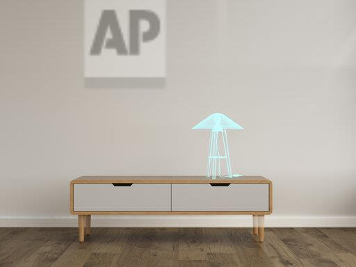 3D rendering, Hologram of table lamp on sideboard in modern room