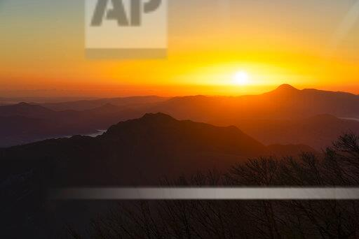 Italy, Umbria, Apennines, sunrise on mount San Vicino seen from mount Cucco Park