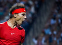 Rafael Nadal, of Spain, reacts during his match against Stan Wawrinka, of Switzerland, during the Rogers Cup mens tennis tournament Thursday, Aug. 9, 2018, in Toronto. (Nathan Denette/The Canadian Press via AP)