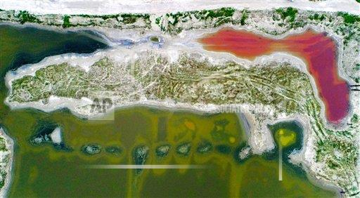 TopPho AP I  Shanxi China TPOHP The bird view of colorful salt lake in Yuncheng,Shanxi,China on 21th August, 2019