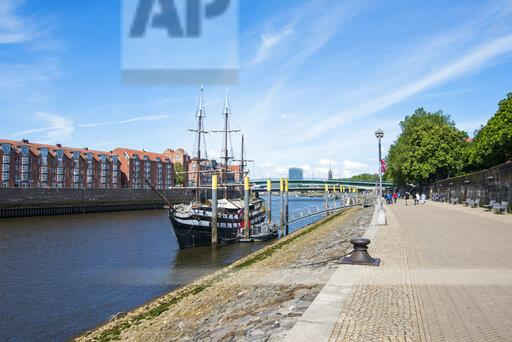 Germany, Bremen, Admiral Nelson sailing boat, restaurant ship on the Weser river