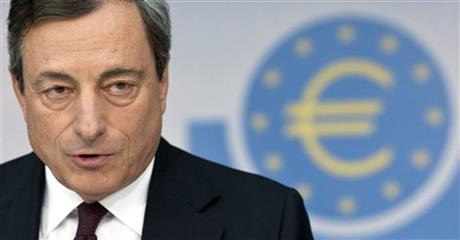 FILE - In this Aug. 7, 2014 file photo Head of the European Central Bank, ECB, Mario Draghi attends a news conference in Frankfurt, Germany. (AP Photo/dpa, Boris Roessler, File)
