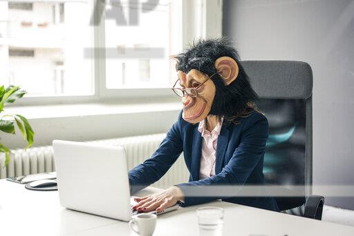 Businesswoman with chimpanzee mask working in office, using laptop