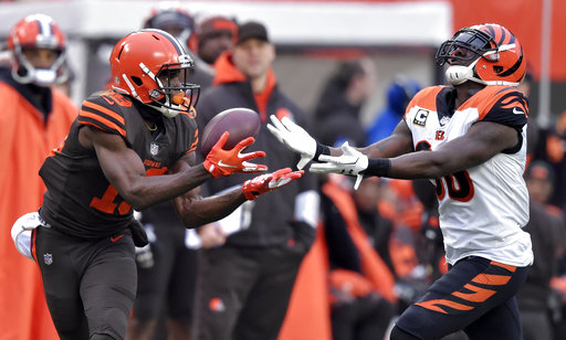 c5e76dd3d Cleveland Browns wide receiver Breshad Perriman (19) catches a pass against  Cincinnati Bengals strong safety Shawn Williams (36) during the first half  of an ...
