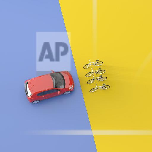 3D rendering, Red car facing four bicycles