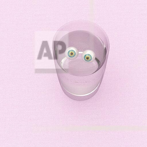 3D rendering, Staring eyeballs in a glass of water
