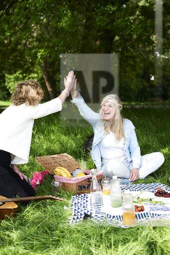 Two happy women high fiving at a picnic in park