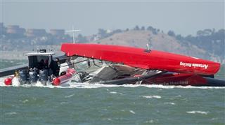 Americas Cup Capsized Boat Sailing