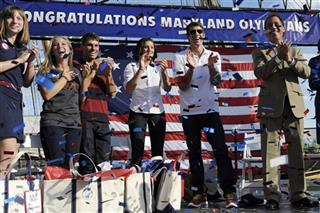 Michael Phelps, Kevin Kamenetz, Katie Ledecky, Farrah Hall, Scott Parsons, Suzanne Stettinius