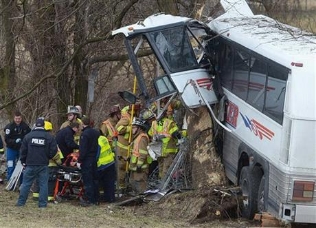 APTOPIX Tour Bus Crash