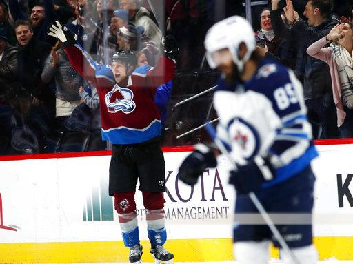 APTOPIX Jets Avalanche Hockey