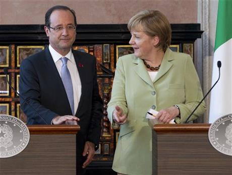 Francois Hollande, Angela Merkel,