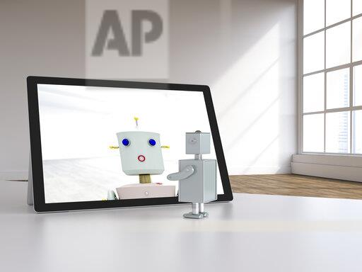 3D rendering, Robot couple having a video chat in modern loft