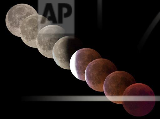Germany, composite sequence of total lunar eclipse
