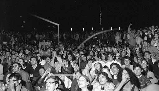Associated Press Domestic News New York United States NYC CROWD WATCHES LUNAR LANDING